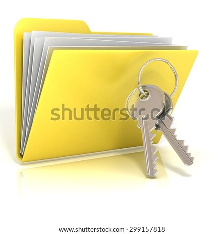 Keys and folder icon. 3D render illustration, isolated on white background - stock photo