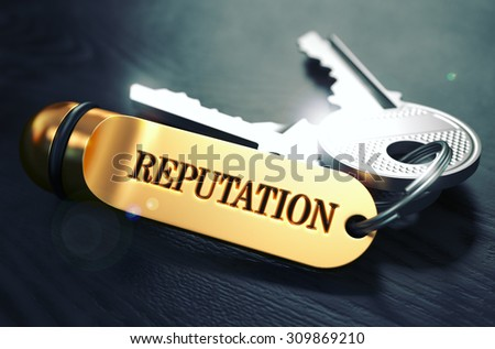 Keys and Golden Keyring with the Word Reputation over Black Wooden Table with Blur Effect. Toned Image. - stock photo