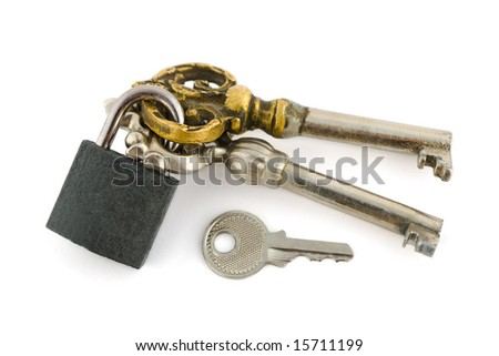 Keys and lock isolated on white background