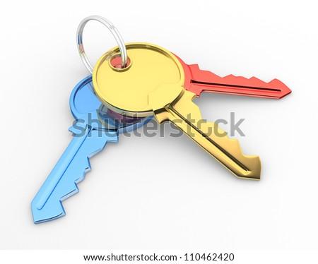 Keys. 3d render illustration - stock photo