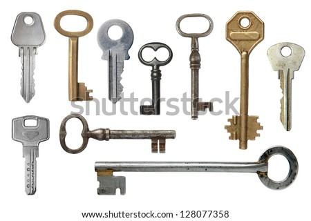 Keys from door locks on a white background. - stock photo