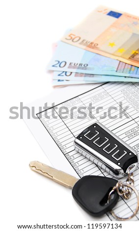 Keys from the car, money (euro) and documents. - stock photo