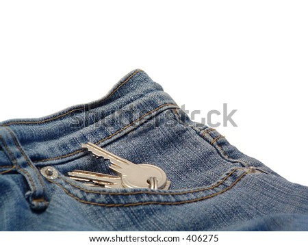 keys in denim pocket on white background - stock photo