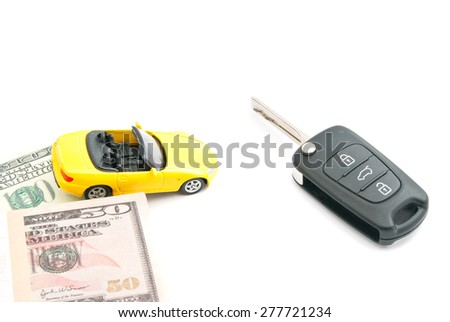 keys, notes and yellow car on white closeup