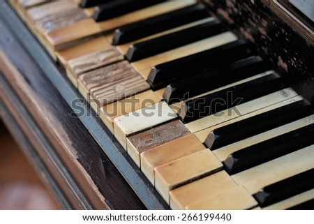 keys of an old piano - stock photo