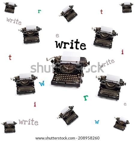 keys of the typewriter - stock photo