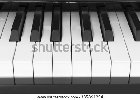 Keys Piano Black and White Picture Style - stock photo