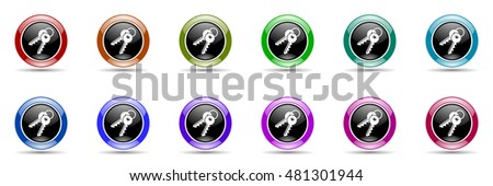 keys round glossy colorful web icon set
