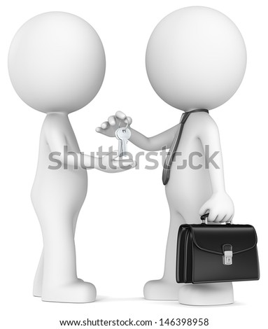 Keys. The Dude getting keys from Businessman. - stock photo