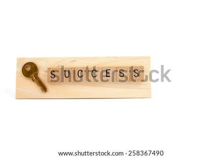 Keys to success concept on wood on white background