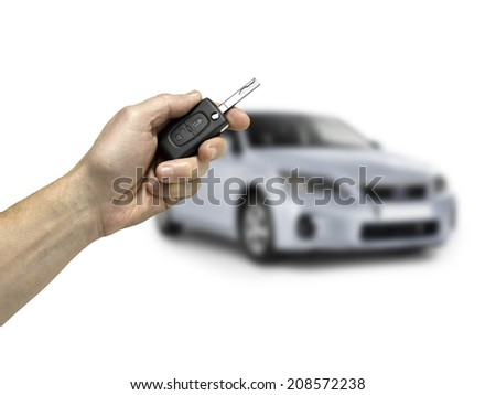 Keys to the car.on white background. - stock photo