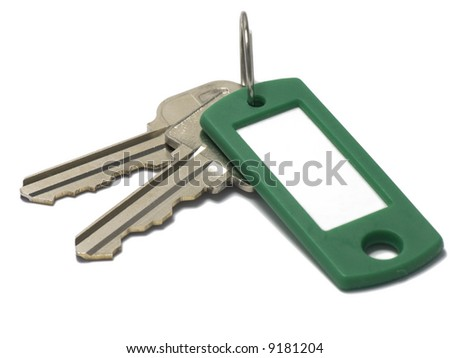 keys with ring and green tag
