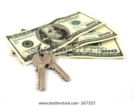 keys with three hundred dollars - stock photo