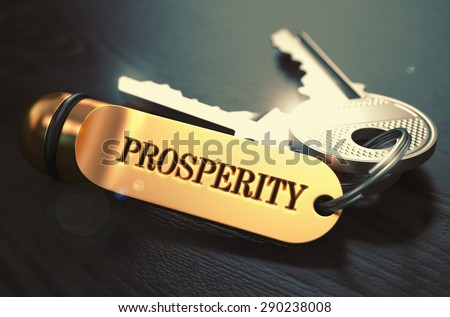 Keys with Word Prosperity on Golden Label over Black Wooden Background. Closeup View, Selective Focus, 3D Render. Toned Image. - stock photo
