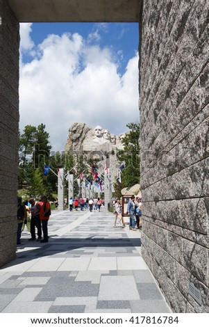 KEYSTONE, SD -10 August 2013- The Mount Rushmore National Memorial is a sculpture by Gutzon Borglum representing the giant heads of four American presidents. - stock photo