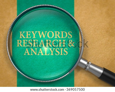 Keywords Research and Analysis through Loupe on Old Paper with Blue Vertical Line Background. - stock photo