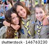 KFAR SABA, ISRAEL - JULY 19: Three unidentified Israel Scouts members aged 11-12 happy and excited upon leaving for summer camp on July 19, 2013 in Kfar Saba, Israel. - stock photo