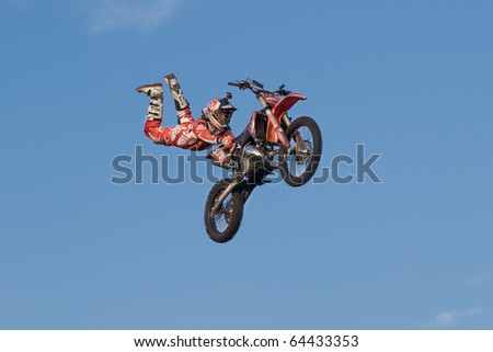 KHABAROVSK, RUSSIA- OCTOBER 9: -Alex Aisin in action at X Fighters freestyle on October 9, 2010 in Khabarovsk, Russia - stock photo