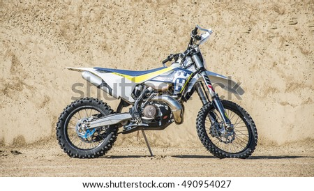 Khabarovsk, Russia - September 29. 2016: Husqvarna TE 300 2017 Motocross bike Enduro in sand quarry , pre-workout
