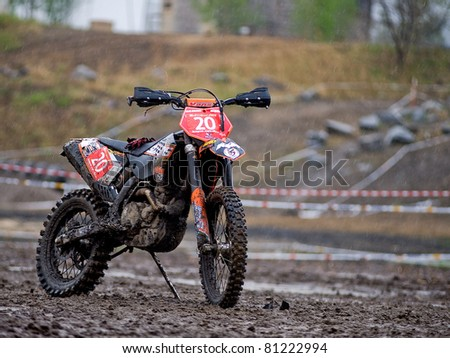"""KHABAROVSK RUSSIAN - MAY 21: motorcycle  in action at the first stage of the Khabarovsk enduro """"KHABARIGENS 2011 May 21, 2011 in Khabarovsk, Russia - stock photo"""