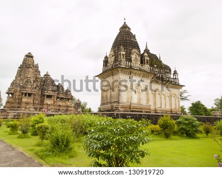 Khajuraho temples located in India. The Khajuraho temples contain some sexual or erotic art outside the temple or near the deities. They are World Heritage. - stock photo