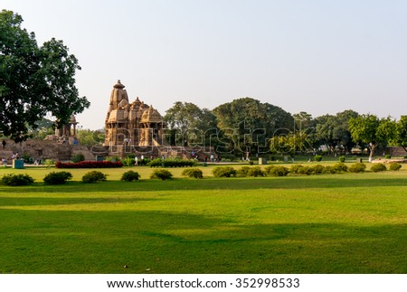 Khajurao, India, 6th Dec 2015: well laid out and green temple complex in the ancient city of Khajurao India. The complex complements the beautiful hindu jain temples