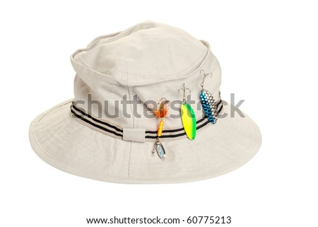 khaki hat with fishing tackle - stock photo