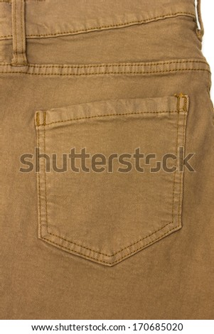 khaki jeans back pocket - stock photo