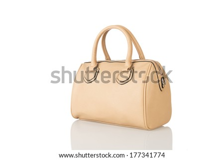 khaki leather handbag on white background  - stock photo