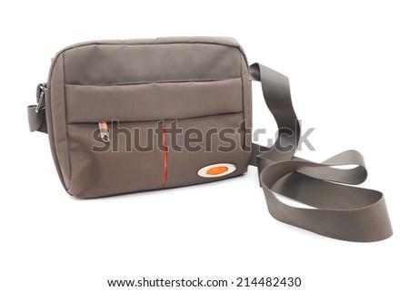 Khaki male bag Isolated on white - stock photo