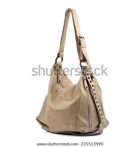 Khaki suede female leather bag isolated on white background. - stock photo