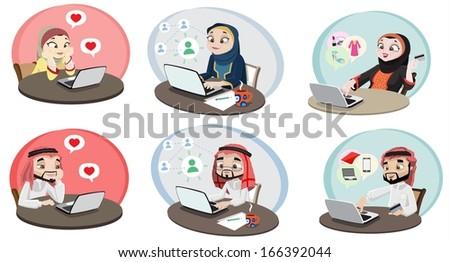 Khaliji People Using The Internet 2 - stock photo