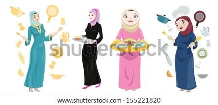 Khaliji Women Cooking Icons - stock photo