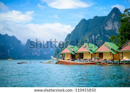 Khao Sok National Park, Mountain and Lake in Thailand - stock photo
