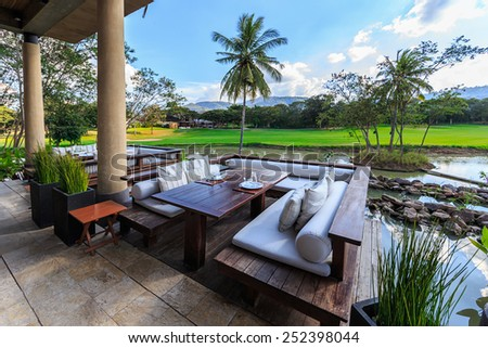 KHAO YAI, THAILAND - DEC 27: Cafeterior of Kirimaya Hotel  on Dec 27, 2014 in Khao Yai, Thailand. It's a luxury resort hotel and spa, with pristine 18-hole golf course designed by Jack Nicklaus.