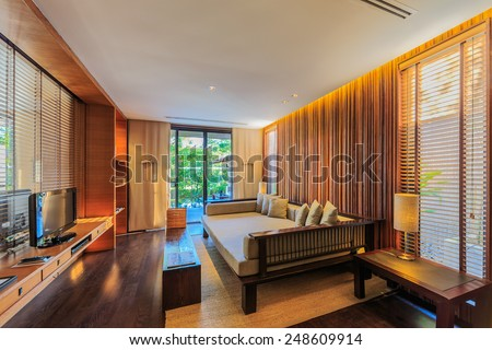 KHAO YAI, THAILAND - DEC 26: Guess room interior of Muti Maya Forest Pool Villa on Dec 26, 2014 in Khao Yai, Thailand. It's 7th most romantic resort of the world, reported by Reuters.