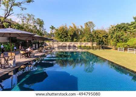 KHAO YAI, THAILAND - DEC 27: Main Swimming pool of Muthi Maya Forest Pool Villa on Dec 27, 2014 in Khao Yai, Thailand. It is the 7th most romantic resort of the world, reported by Reuters.