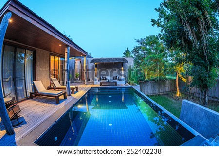 KHAO YAI, THAILAND - DEC 26: Pool Villar of Muti Maya Forest Pool Villa on Dec 26, 2014 in Khao Yai, Thailand. It's 7th most romantic resort of the world, reported by Reuters.