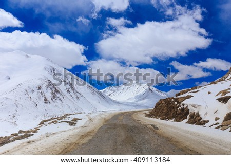 Khardungla Pass. The highest road in the world, Leh Ladakh, India - stock photo