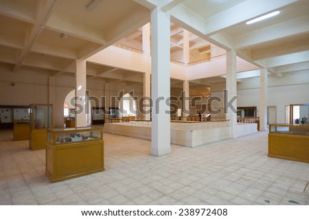 KHARGA OASIS, EGYPT - NOV 27, 2014: Interior of the Kharga Cultural Heritage Museum, Kharga, Egypt. One of the main sites of the Kharga Oasis
