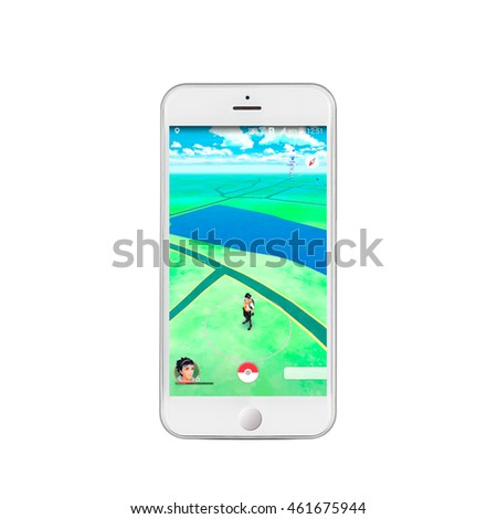 Kharkiv,Ukraine - july 31, 2016: Game Pokemon Go to the screen of your smartphone, isolation on a white background.