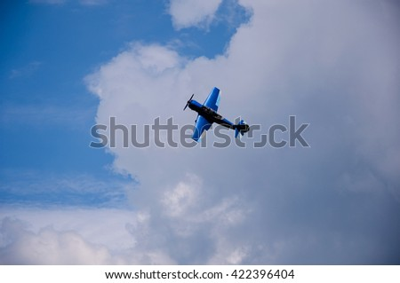 Kharkiv, Ukraine - may 8, 2016: celebration of aviation at the airfield Korotych, Kharkiv.  The plane in the air.