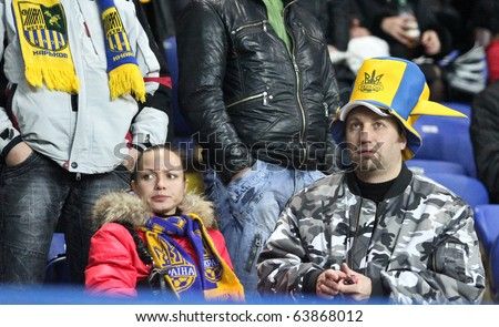KHARKIV, UKRAINE - OCTOBER 21: Metalist fans during Metalist Kharkiv vs. Sampdoria Genoa Group stage (Group I) UEFA Europa League football match (2:1), October 21, 2010 in Kharkov, Ukraine