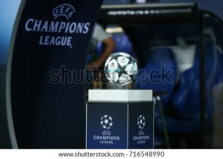 KHARKIV, UKRAINE - 13 SEPTEMBER, 2017: Adidas 2017-2018 Champions League tournament match ball. White, navy and light blue design. Official UEFA Champions League white logo on blue gradient podium.