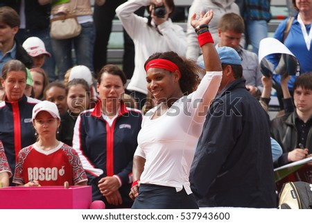 KHARKOV, UKRAINE - APRIL 21: Serena Williams waves her hand and looking at the camera after Fed Cup match between USA and Ukraine in Superior Golf and Spa Resort, Kharkov, Ukraine on April 21, 2012