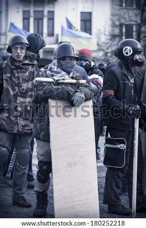 KHARKOV/UKRAINE - 23 FEBRUARY 2014: evromaydan self-defense in Ukraine. February 23 Ukraine.