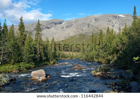 Khibiny Mountains with Kunijok river and Northern Chorrgor Pass, Kola Peninsula, Russia - stock photo