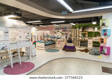Khimki, Russia - February 13. 2016. Children's furniture in Grand Furniture shopping, a largest specialty shop.