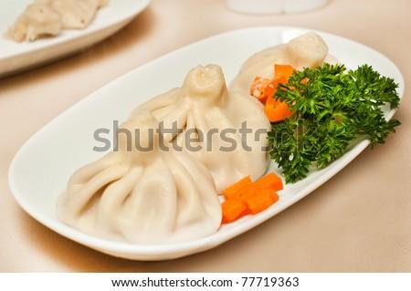 Khinkali - The Georgian Dumplings - stock photo