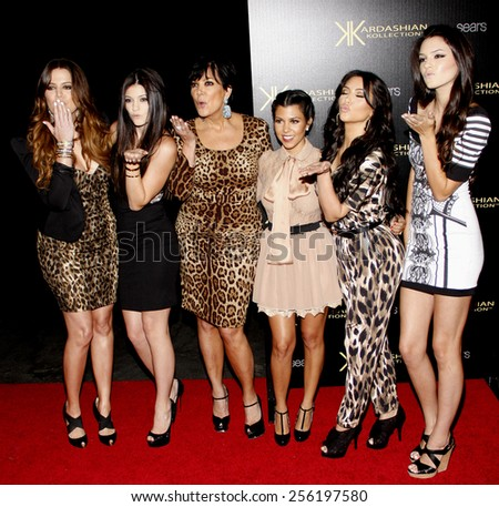 Khloe Kardashian, Kylie Jenner, Kris Jenner, Kourtney Kardashian, Kim Kardashian and Kendall Jenner at the Kardashian Kollection Launch Party held at the Colony in Hollywood on August 17, 2011. - stock photo
